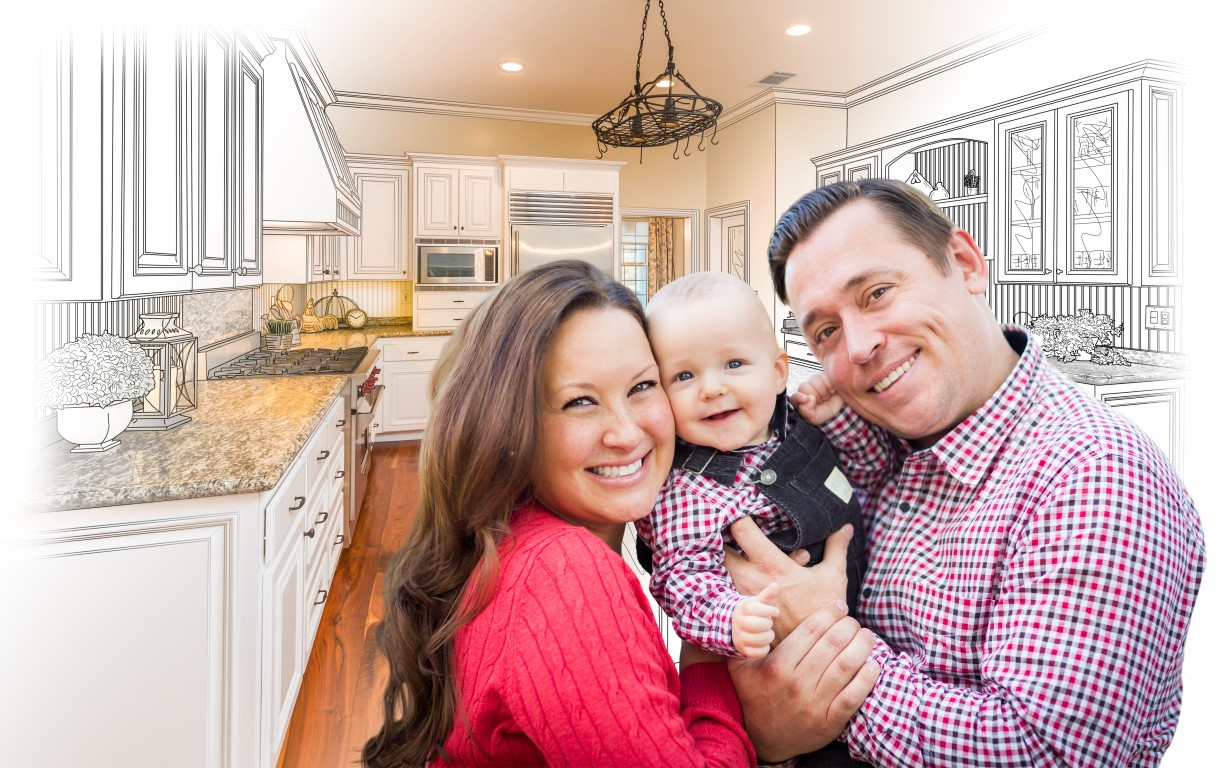 Young Family Over Custom Kitchen Design Drawing and Photo Combin